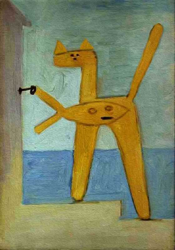 Cat and fish. Original - Pablo Picasso, Bather opening a cabin