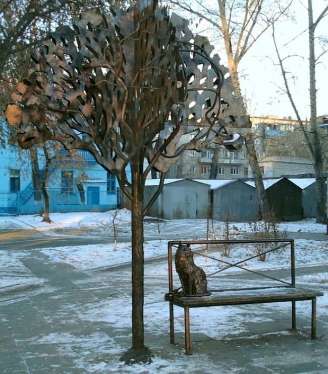Cat under the oak tree. Barnaul