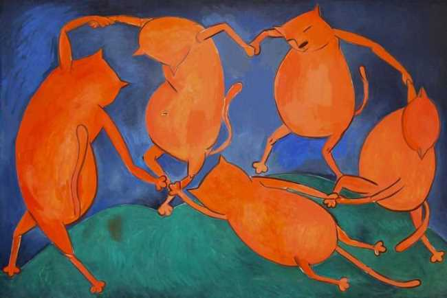Dance of cats. Original - Henri Matisse, Dance