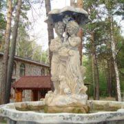 Fountain Lovers under the umbrella in Novosibirsk, Russia