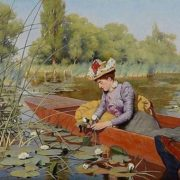 Frank Percy Wild. Picking Water Lilies. 1861