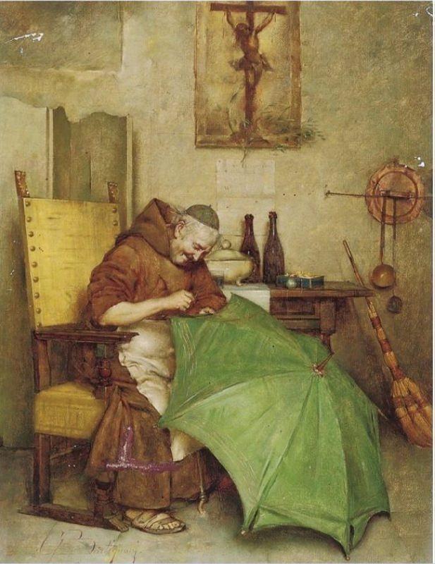 Giuseppe Bortignoni. A monk repairing an umbrella. 1893