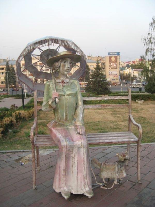 Lady with a dog in Lipetsk, Russia