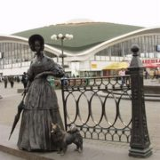 Lady with a dog in Minsk, Belarus