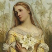 Lady with lilies. Gustav Pope