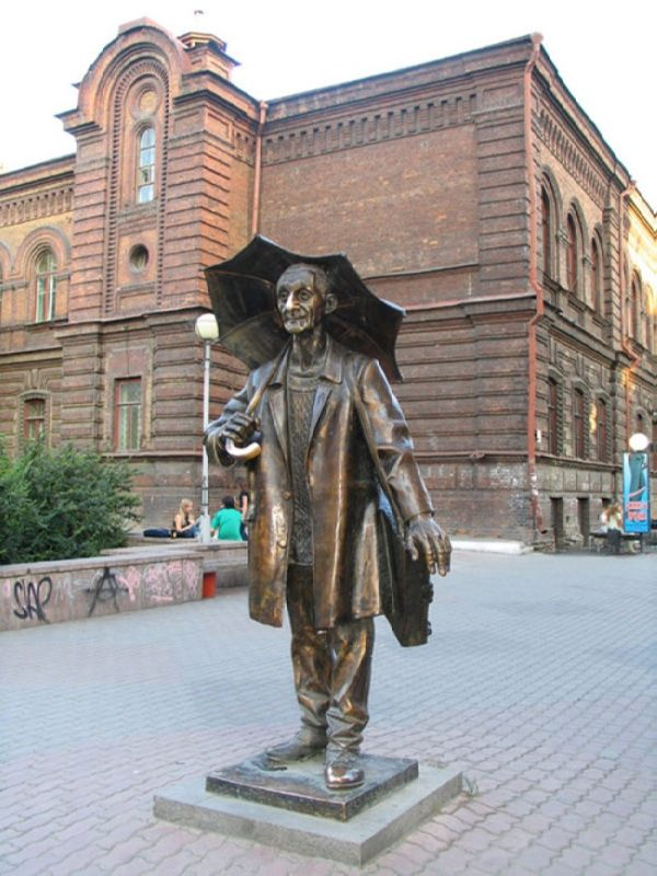 Monument to artist Pozdeev in Krasnoyarsk, Russia