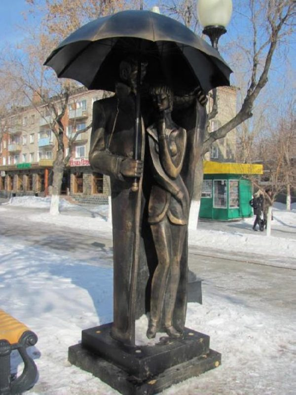 Monument to lovers with an umbrella in Petropavlovsk, Kazakhstan