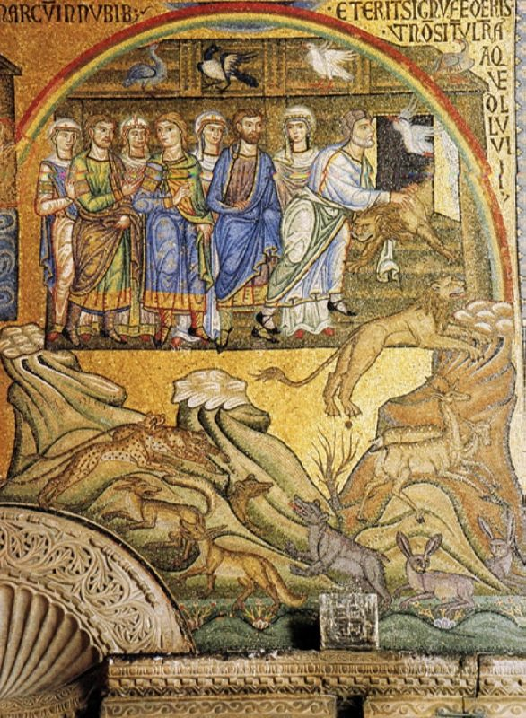 Mosaic from St. Mark's Cathedral. Noah and the family come out of the ark