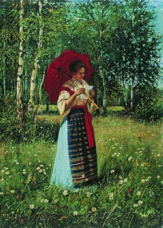 Nikolay Bogdanov-Belsky. Reading the letter, 1892