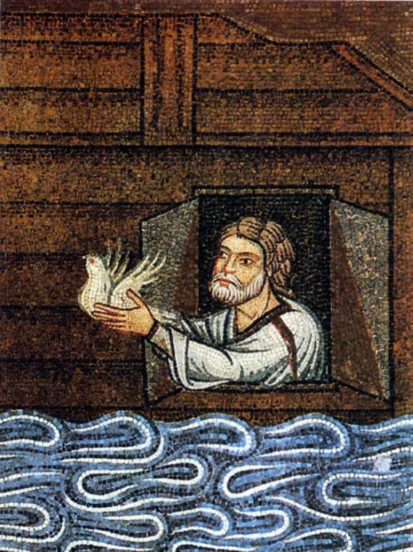 Noah lets the dove out of the ark. Fragment of the mosaic, XII - XIII centuries. Venice, St. Mark's Cathedral