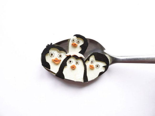 Penguins on a spoon by Ioana Vanc