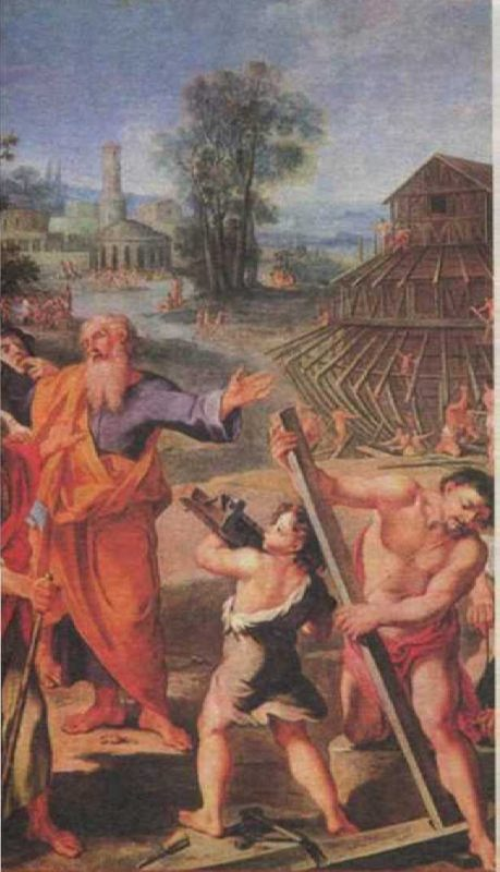 Picture of an unknown artist. Construction of Noah's Ark. 1675