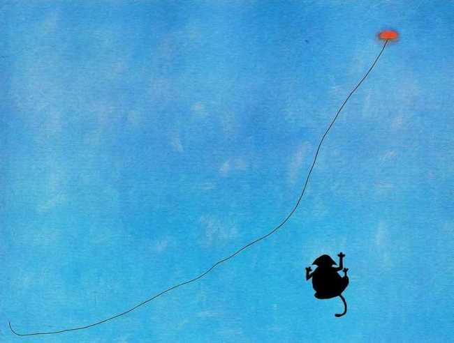 Playing cat. Original - Joan Miro, Bleu III