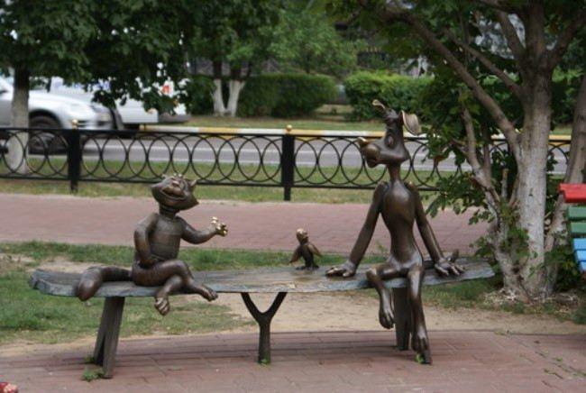 Ramenskoye. Monument to cat Matroskin and dog Sharik