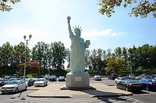 Replica of the Statue of Liberty in the parking lot behind the Brooklyn Museum in New York