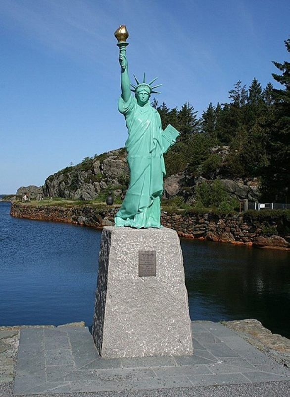 Replica of the statue of Liberty in the town of Visnes in Norway