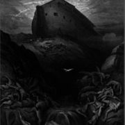 Righteous Noah lets the dove out of the ark to the ground. Engraving by Gustave Dore