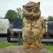 Sculpture Cat on a rock in St. Petersburg