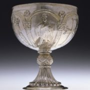 The Byzantine Cup. Silver chalice with the image of the figures of the apostles and the cross, the beginning of the 7th century