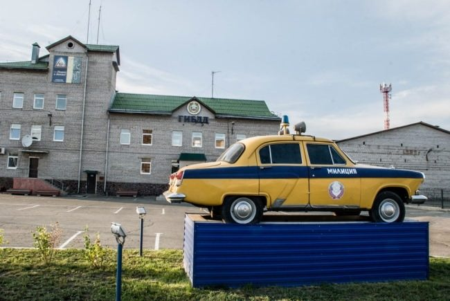 Abakan. Monument to the State Automobile Inspection