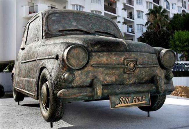 Monument to SEAT 600 in Malaga, Spain