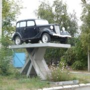 Monument to a car in Kurgan, Russia