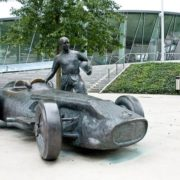 Monument to the racer Juan Manuel Fangio in Stuttgart, Germany