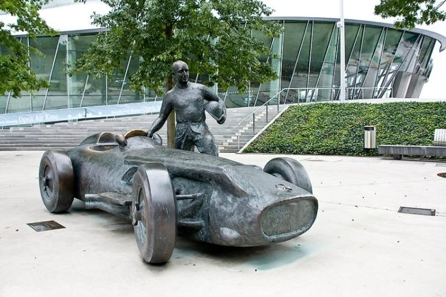 Monument to the racer Juan Manuel Fangio in Stuttgart, Germany