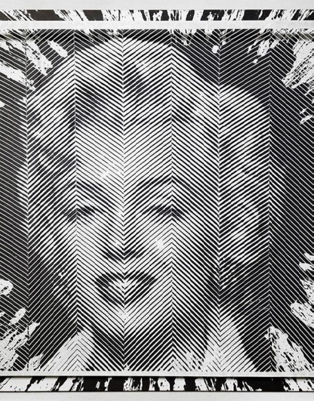 Portrait of Marilyn Monroe made of paper strips by Yoo Hyun