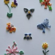 Quilling. Flowers and butterflies