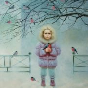 Little girl and bullfinches