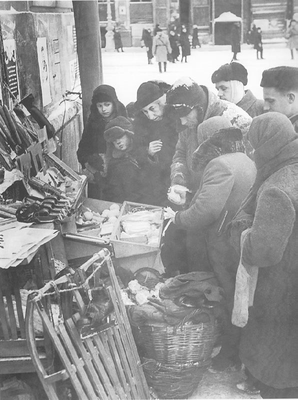 At the stall with goods. 1943