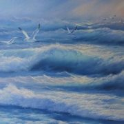 Seascape with gulls