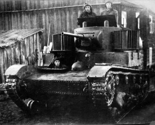 The Soviet tank T-26 with a loud-speaking installation for oral agitation