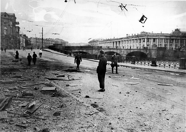 The embankment of the Fontanka River in Leningrad after the German shelling