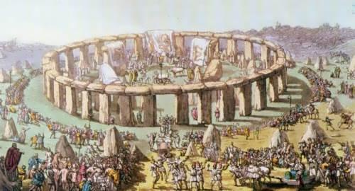Pagan ceremony at Stonehenge, 1820