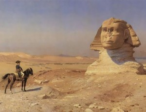 Painting by Jean-Leon Gerome. Napoleon Bonaparte next to the Sphinx