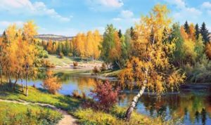 Golden Autumn by Russian painter Igor Prischepa