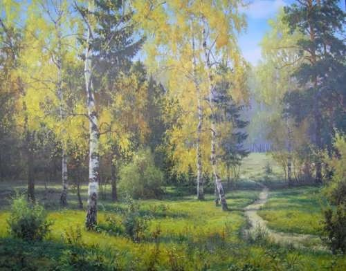 Wonderful forest by Russian painter I. Prischepa