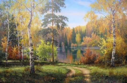 Quiet and wonderful forest by Russian artist I. Prischepa