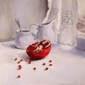 January. Ripe pomegranate