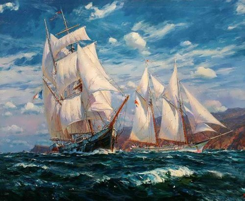 Wonderful marine landscape by Crimean artist S. Sviridov