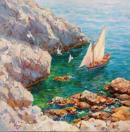 Amazing marine landscape by Crimean artist S. Sviridov