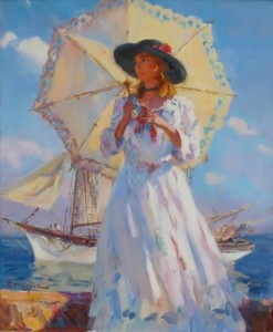 Charming woman by Russian artist S. Sviridov