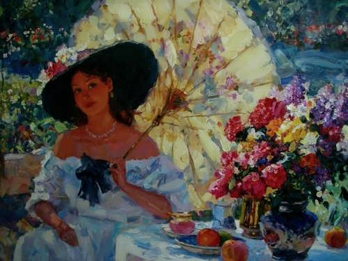 Charming woman by Russian artist S. Sviridov