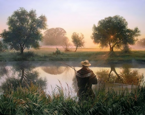 Rural landscape by Russian painter V. Palachev