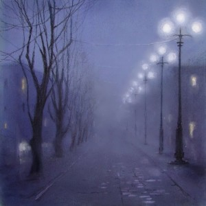 Foggy Evening by Russian artist E. Yushina