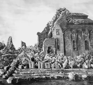 Spitak temple destroyed by the earthquake