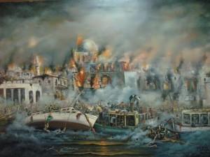 The artist Vasilis Bottas. Tragedy of Smyrna, 1922