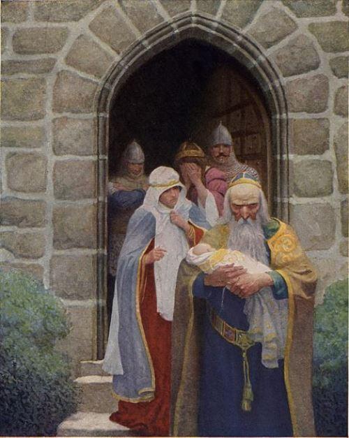 Merlin and newborn Arthur. N.K. Wyeth, 1922